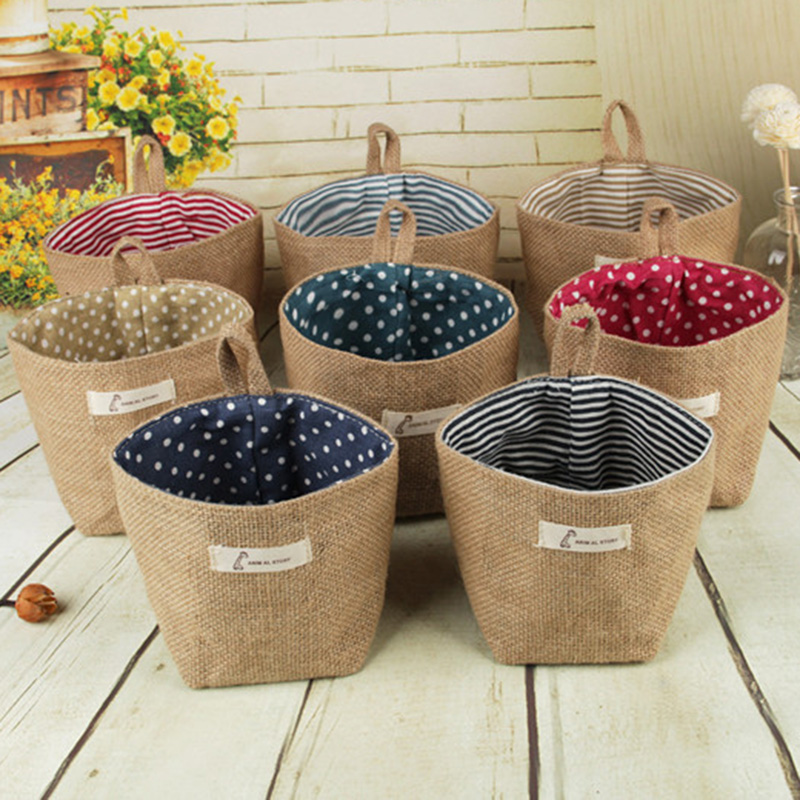 Image 5 - 2019 New Organizador Cotton Storage Bag Linen Flower Pot Organizer Small Sack Hanging Jute Dot Striped Storage Basket Box-in Foldable Storage Bags from Home & Garden