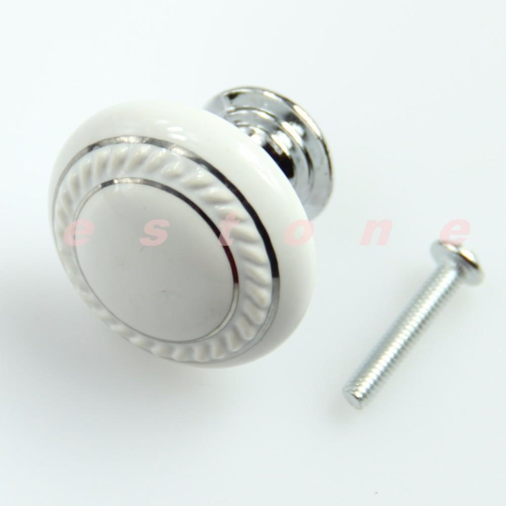Ceramic Crystal Glass White Door Knob Drawer Cabinet Kitchen Wardrobe Handle #26058#