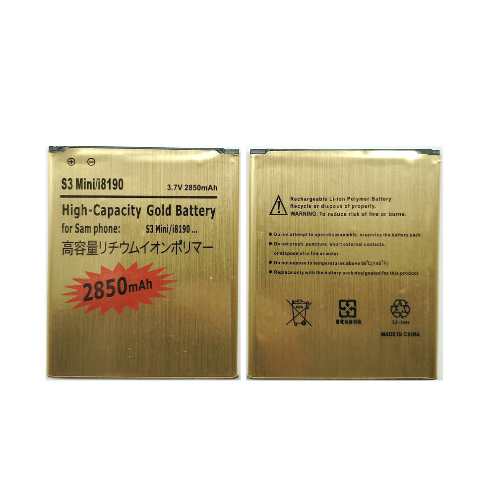 New High Quality 3 Pin 2850mAh Gold Battery For Samsung Galaxy S3 Mini i8190 ACE II 2 I8160 S7562 phone image