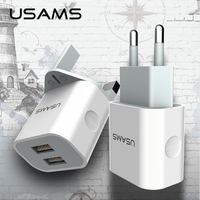 USAMS Brand Heat Protection Dual USB Charger 5V 2 4A Totally EU UK Mobile Phone Universal