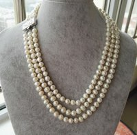 Newest Elegant Ladies Jewellery 3rows 7 8mm White Color Freshwater Pearl Necklace