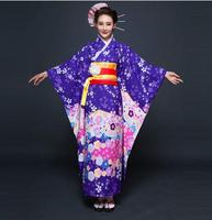 Hot New Purple Japanese Style Lady Kimono Gown Sexy Women Yukata With Obi Vintage Evening Party Dress Flower One Size NK003