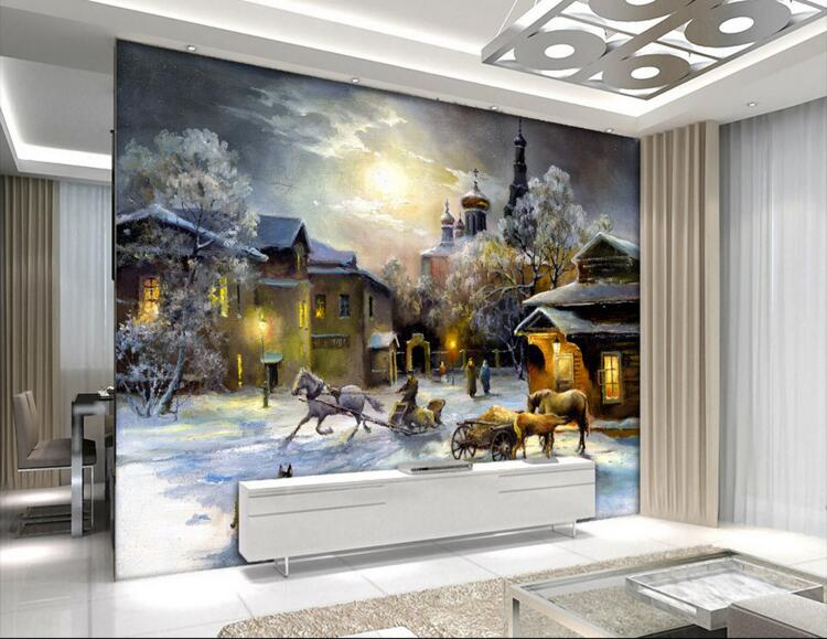 3d room wallpaper custom mural non woven wall sticker 3d Cart snow