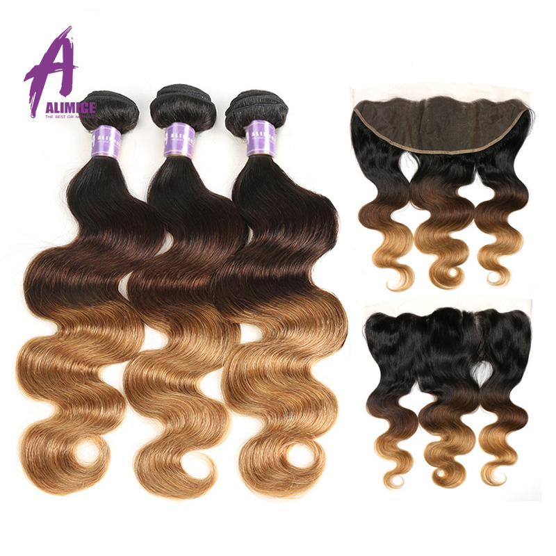 Ombre Human Hair Blonde 3 Bundles With Frontal T1B 4 27 Non Remy Brazilian Hair Weave