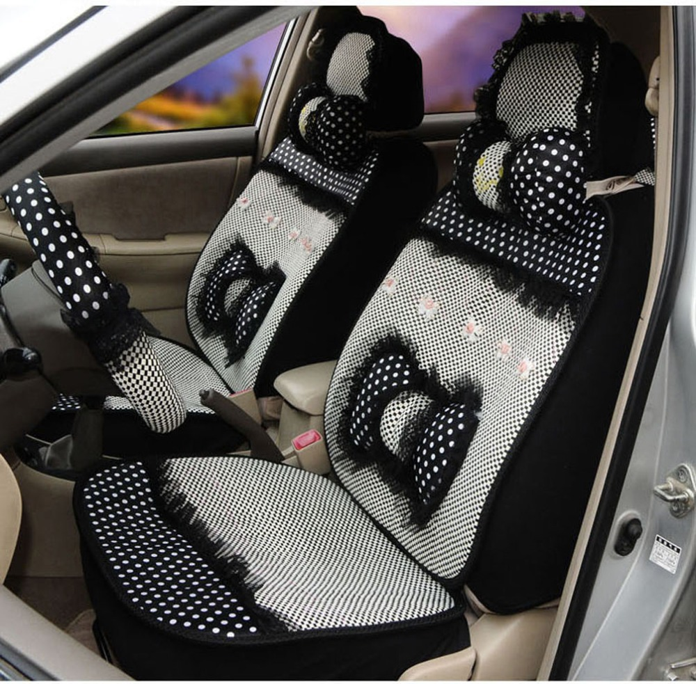 summer car universal seat cover car wave point lace silk seat cushion women car seat mats. Black Bedroom Furniture Sets. Home Design Ideas
