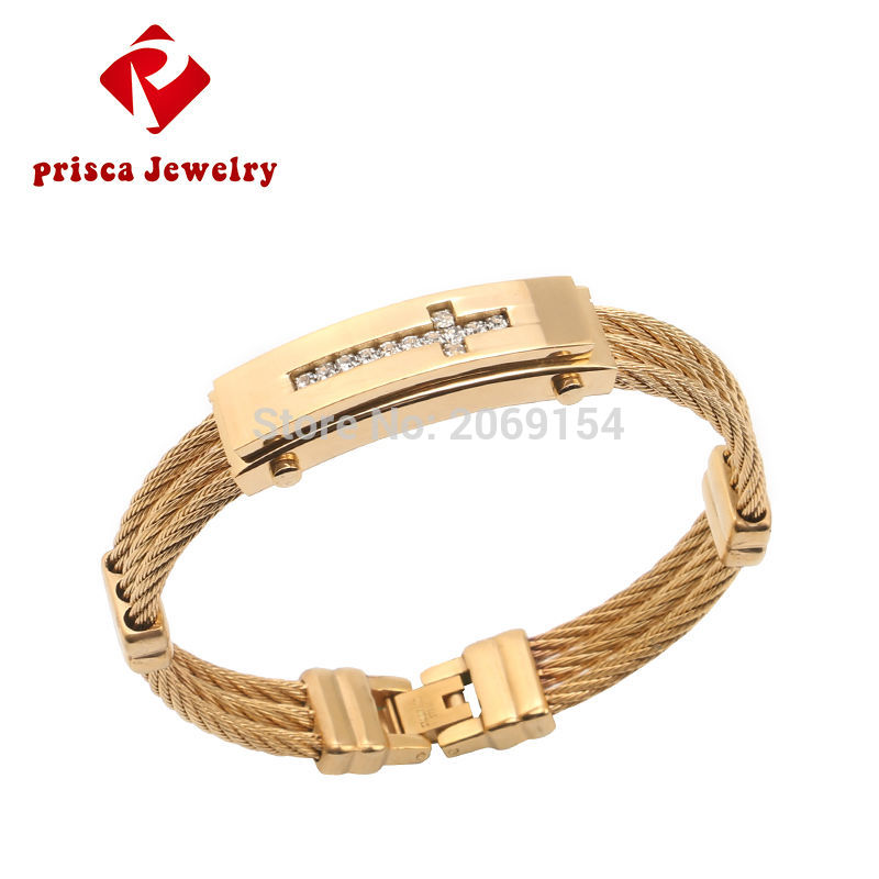 Braclet Men Jewelry  Stainless Steel Cross Bangle Gold Color Charm Wristband Silver Link Chain Fashion Link Chain For Gift