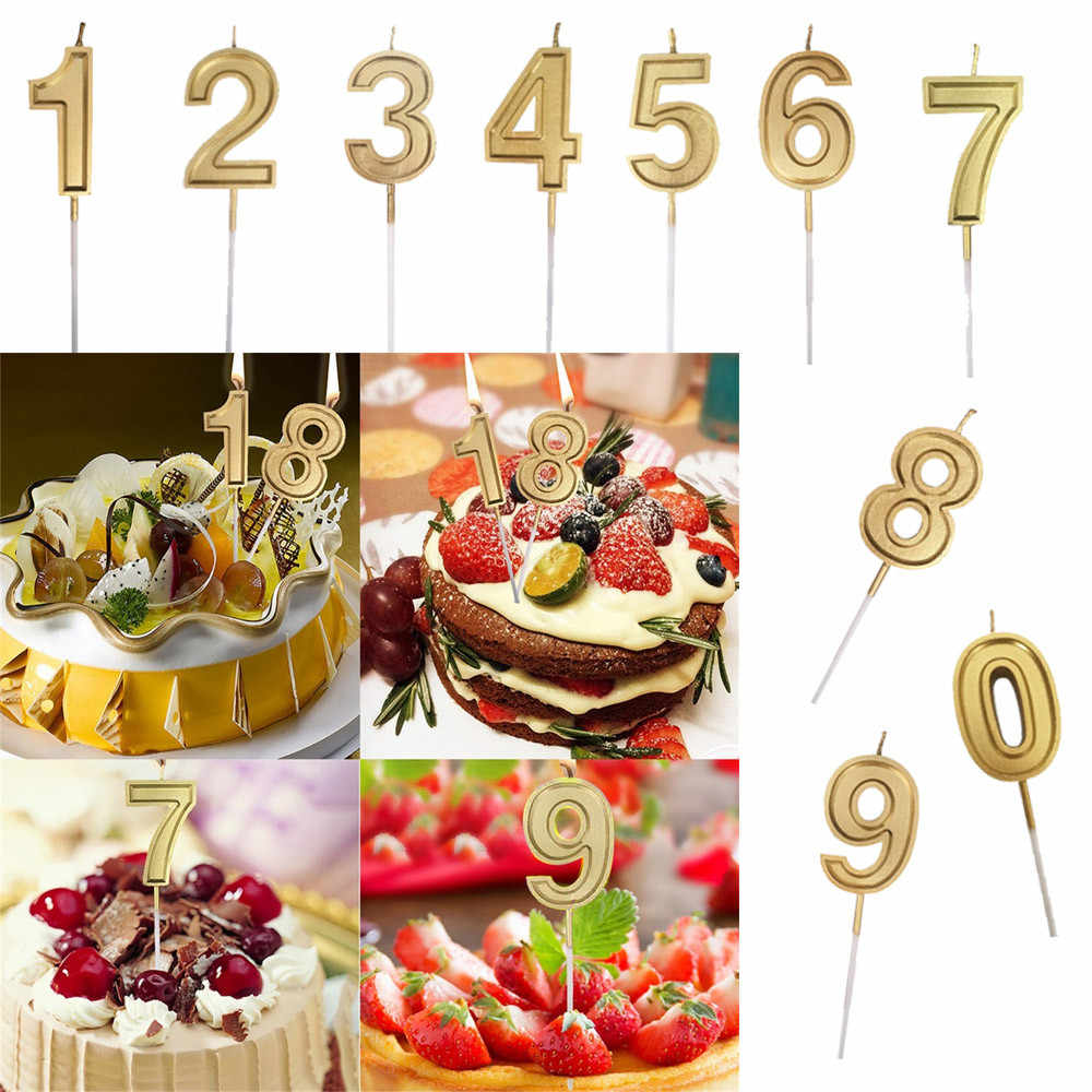 Gold Number Birthday Numeral Candles Wedding Birthday Party Decoration Number Cake Decor Led Candle Color Flame L300110