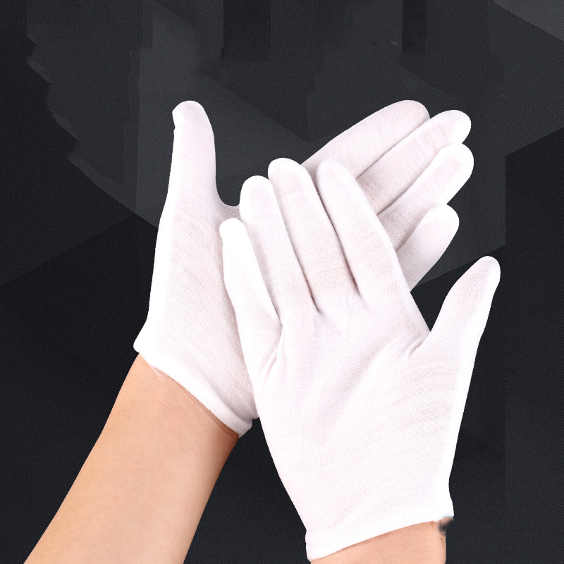 1 Pair White Cotton Gloves Full Finger Men Women Waiters/drivers/Jewelry/Workers Mittens Sweat Absorption Gloves Hands Protector