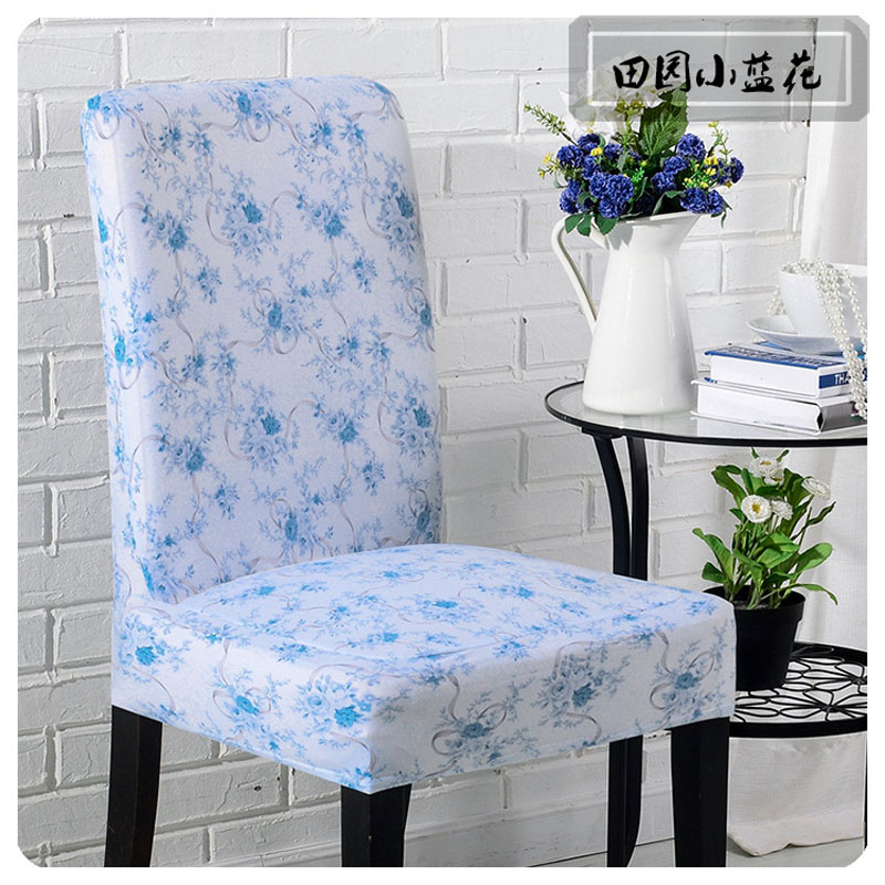 Dining Room Chair Cover Printed Blue Flower Home Decorative Living Spandex Funda Silla