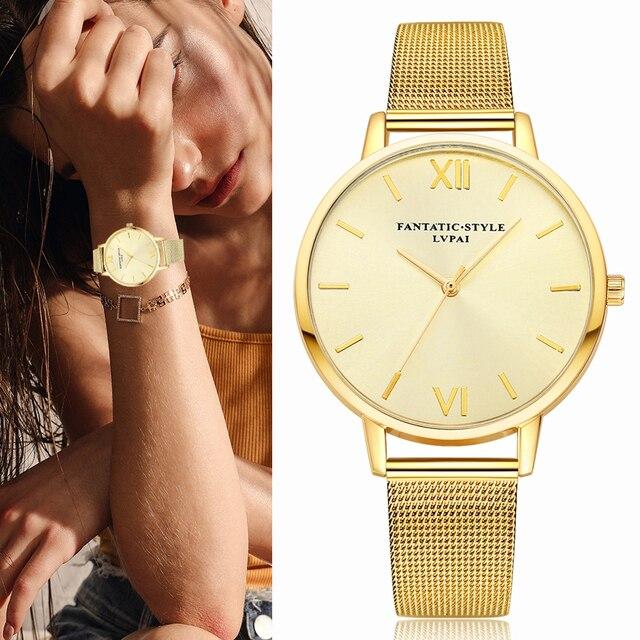 2017 New Lvpai Women Watch Luxury Gold Bracelet Watch Sport Dress Quartz Watch L