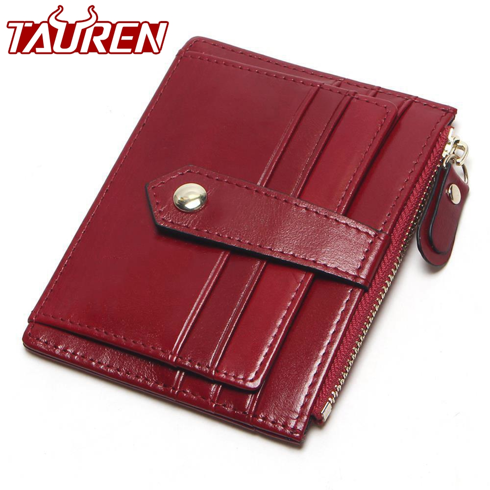 TAUREN 9 Colors First Layer Of Leather Card Wallet Women's Purse Card Holder Bag Oil Wax Layer Of Leather Small Wallet high quality 2017 new style layer of import oil wax cowhide medium paragraph buckle leather wallet men s purse