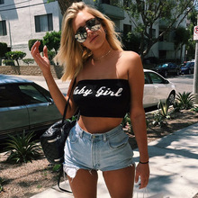 2018 Summer Tube Top Sleeveless Vest Letters Print Women Crop Top Sexy Strapless Baby Girl Print Top Cropped eye print top