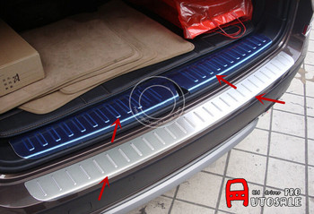 Stainless Steel Outer+inside Rear Bumper Guard Plate Decoration Trim 1pcs Glossy FOR BMW X3 F25 2011 2012 2013/2014 2015