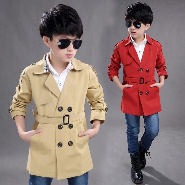 2016 autumn new children's clothing windbreaker jacket kid boys wild long section double-breasted coat