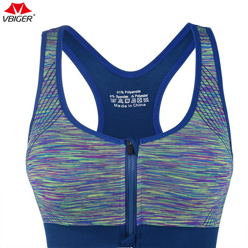 Breathable Women Zip Front Sports Bra Fitness Yoga Removable Pads Zipper Tops
