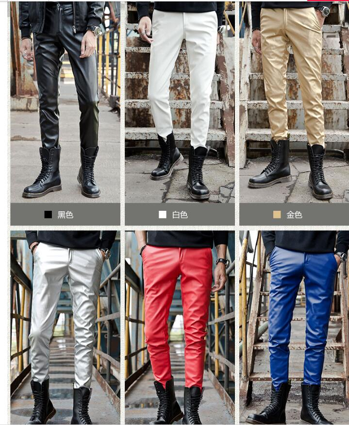 2019 new fashion leather pants male Korean version of the slim feet pants men's tight motorcycle leather pants - 3