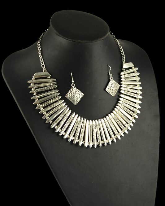 Bohemian Silver Color Jewelry Sets Geometric Chunky Chain Statement Necklace Indian Ethnic Necklace Earring Sets For Women
