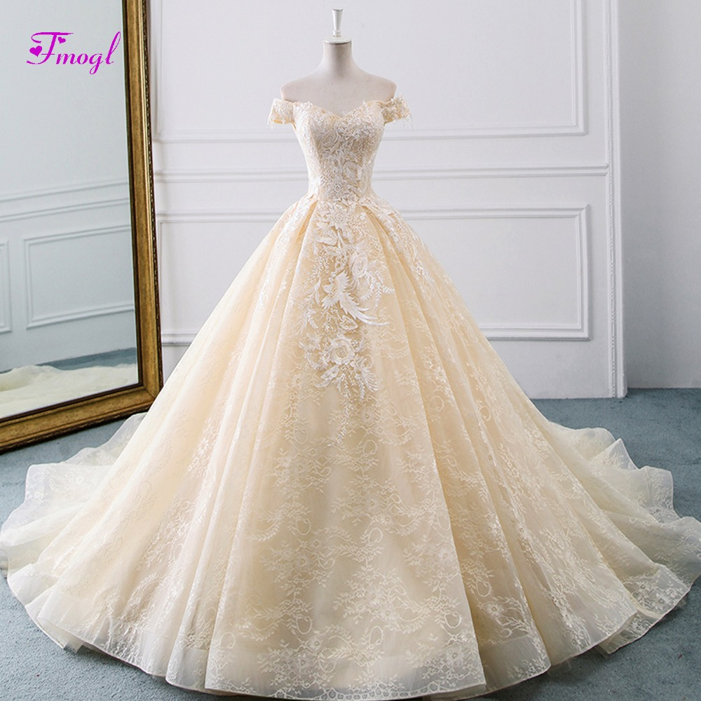 Fmogl Vestido de Noiva Graceful Appliques Lace A Line Wedding Dress 2019 Charming Sweetheart Neck Princess