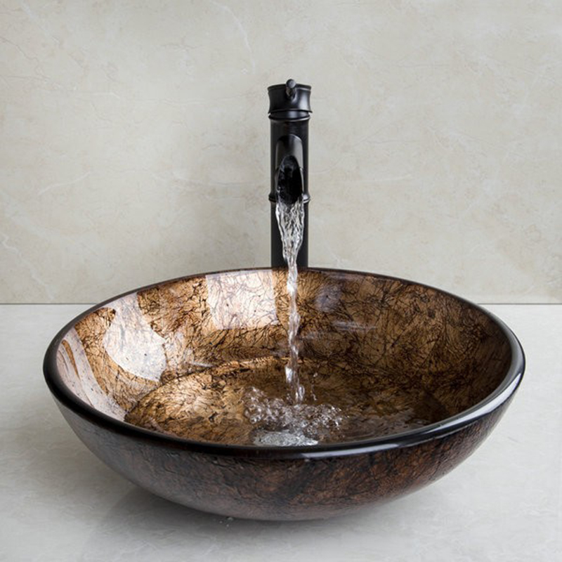 Kemaidi Modern Washbasin Round Tempered Glass Vessel Sink With Oil