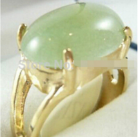 Hot Sell Beautiful Gold Plate Light Green Jade Ring 6 9 Bridal Jewelry Free Shipping