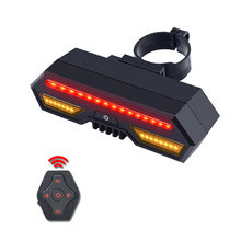 Usb Bike Tail Light Smart Brake Taillights MTB Road Cycle Rear Led Bycicle Light Wireless Remote Control Turn Signal lantern(China)
