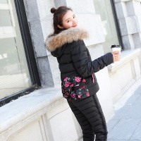 2018 Winter Spring Jacket Suit Autumn Warm women coat Plus Size 2XL Fur Collar Slim Parka Coat + Pants 2 Piece Set Women 1838