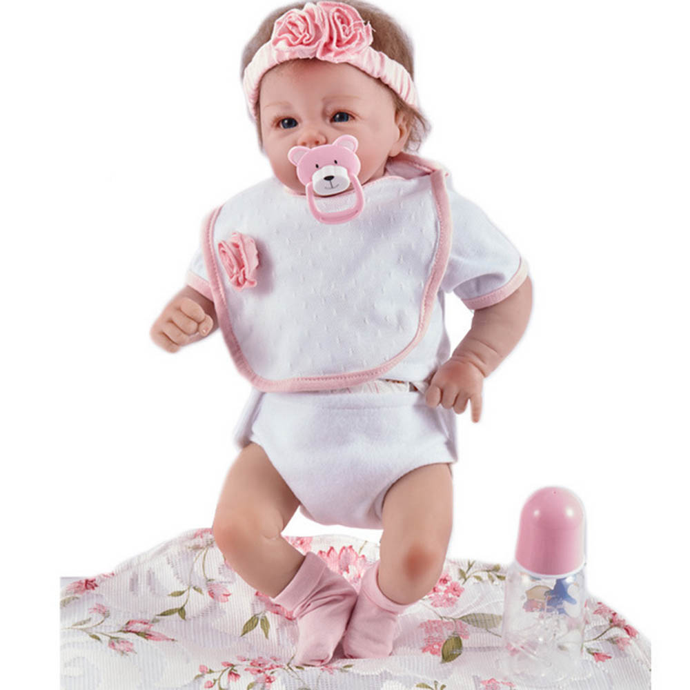20 inches Silicone Soft Realistic Reborn Baby Doll Lifelike Girl Newborn Babies with Cloth Body Toy for Kids Birthday Xmas Gift pink romper 20 inch reborn babies girl lifelike silicone newborn dolls realistic doll toy with blue eyes kids birthday xmas gift