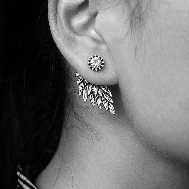 Vintage Gothic Angel Wing Alloy Stud Earrings Cool Black Antique Silver Color Feather Earrings for Women Men Fashion Jewelry