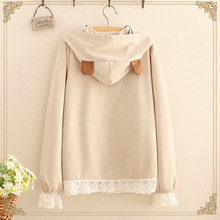 Spring Mori Girl Cute Lace hooded Pullovers