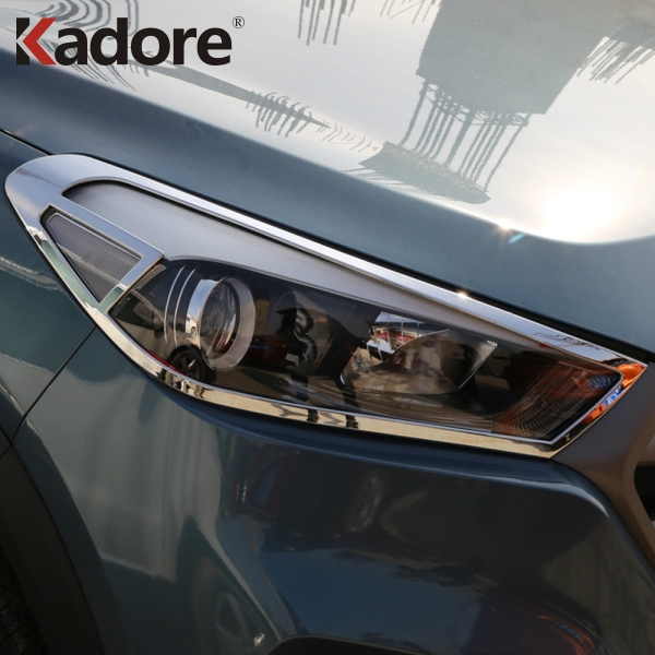 Fit For Hyundai Tucson 2015-2017 2018 ABS Chromed Front Head Light Lamp Shade Cover Car Decoration Headlight Sheild AccessoriesFit For Hyundai Tucson 2015-2017 2018 ABS Chromed Front Head Light Lamp Shade Cover Car Decoration Headlight Sheild Accessories