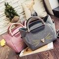 Nova coleção outono bolsa de ombro mulheres estilo coreano bonito do gato bordado das mulheres lidar com saco saco do mensageiro