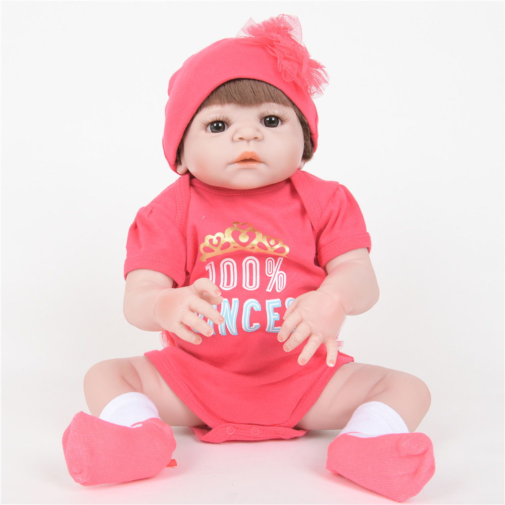 55cm Soft Full Silicone Reborn Baby Newborn Princess Girl Doll for Kids Toy Christmas Birthday New Year Gift недорого