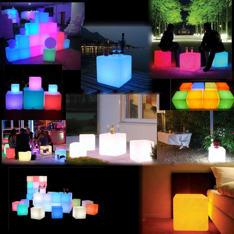 Outdoor Furniture 100% Waterproof Led Cube 20cm 30cm 40cm Vc-a300