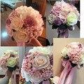 Vintage buque de noiva romántica rose pearls wedding bouquet artificial flores de la boda nupcial de la novia ramos accesorios de la boda
