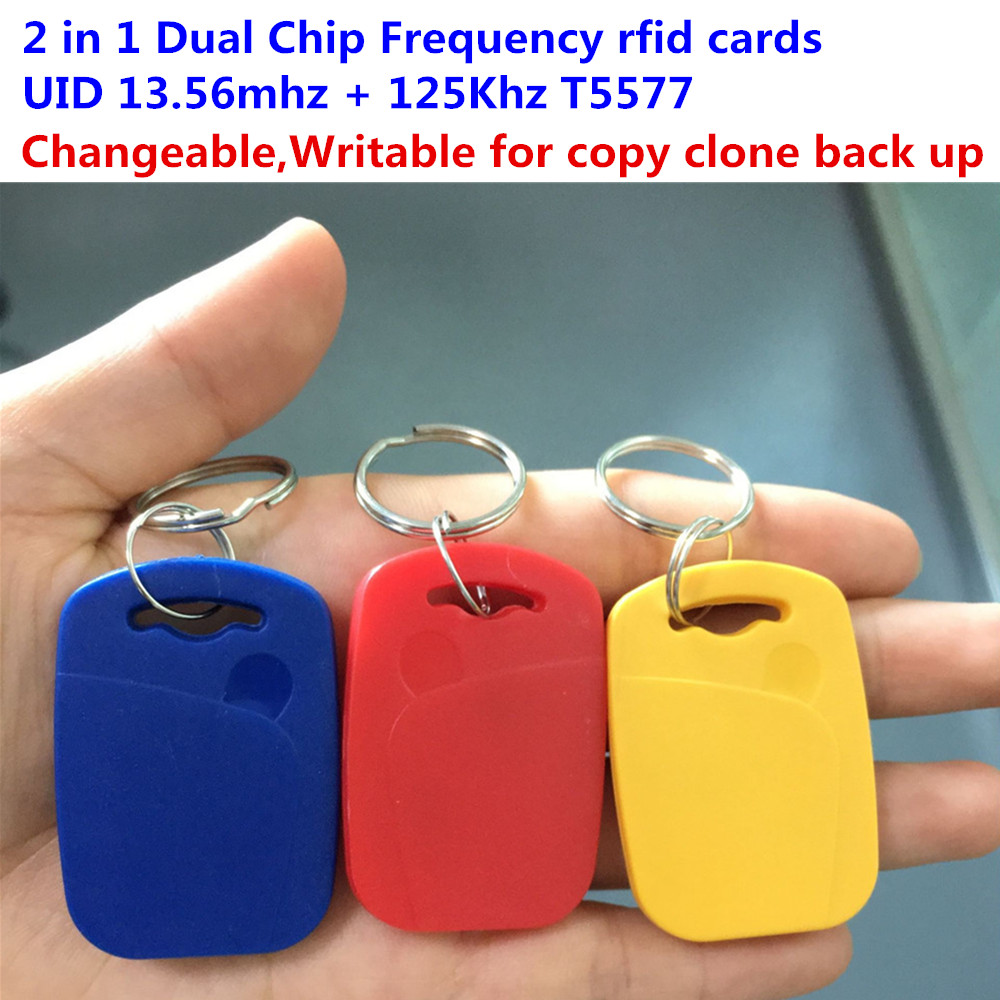 RFID 13.56mhz 1K UID Changeable & T5577 125khz dual chip frequency IC/ID key tag Readable Writable Rewrite for copy clone backup ...