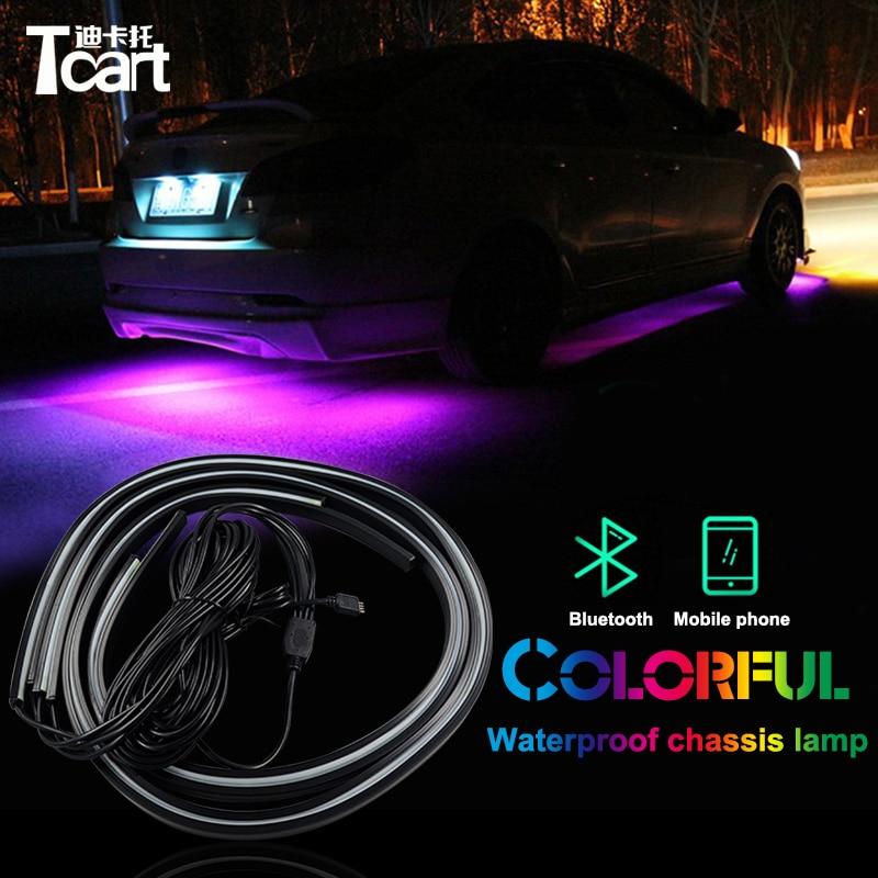 цена на Tcart app control RGB LED Strip Under Car Tube Underbody Underglow System Neon Light Remote For Volkswage golf 4 mk4 accessories
