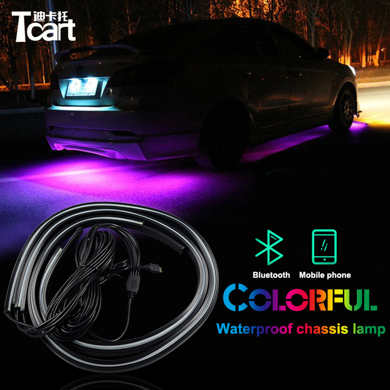 цена на Tcart app control RGB LED Strip Under Car Tube Underbody Underglow System Neon Light Remote for peugeot 3008