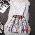 2016 Spring And Summer Women's New European And American Printing Vest Sleeveless Dress LYQ030