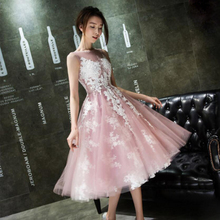 Sexy See Through Blush Tulle Bridesmaid Dresses A line Lace Appliques Tea Length Party Dress for