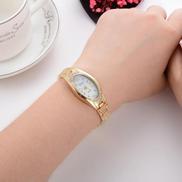Disu Brand Watches Women Fashion Bracelet Watch Ellipse Luxury Gold Watch Women