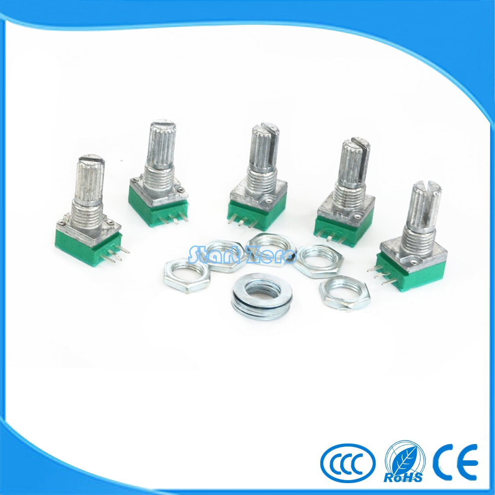 цены 10pcs B100K B50K B20K B10K B5K RK097N Audio Amplifier Sealed single Potentiometer 15mm Shaft 3pins