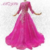AXJFU принцессы розовый персик кружева вечернее платье бисером цветок Роскошные три четверти рукавами вечернее платье 100% Настоящее фото 247911