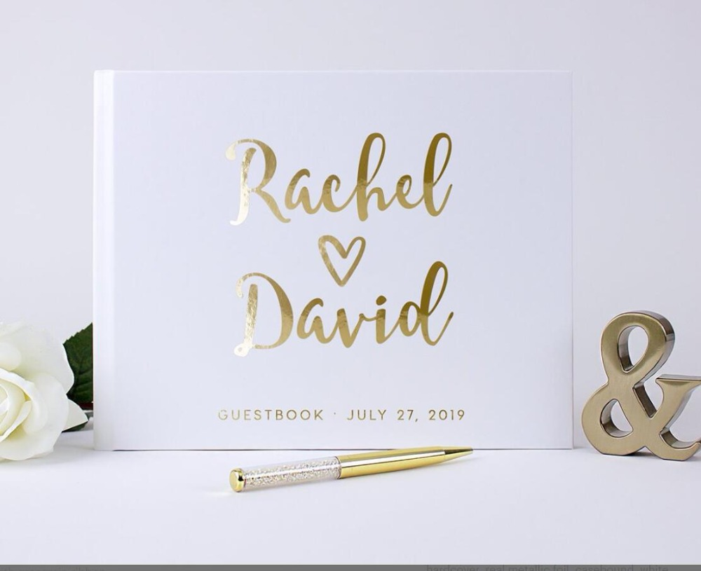 Personalized Guest Book Gold Calligraphy Alternative Guestbook Custom Names and Date Wedding Journal A5 B5 size birthday ablum