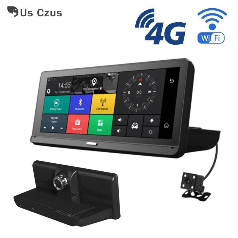 8 дюймов видеорегистратор Android 4 г Автомобильный видеорегистратор WI FI gps навигации Bluetooth с двумя объективами ADAS заднего вида регистратор с Зе
