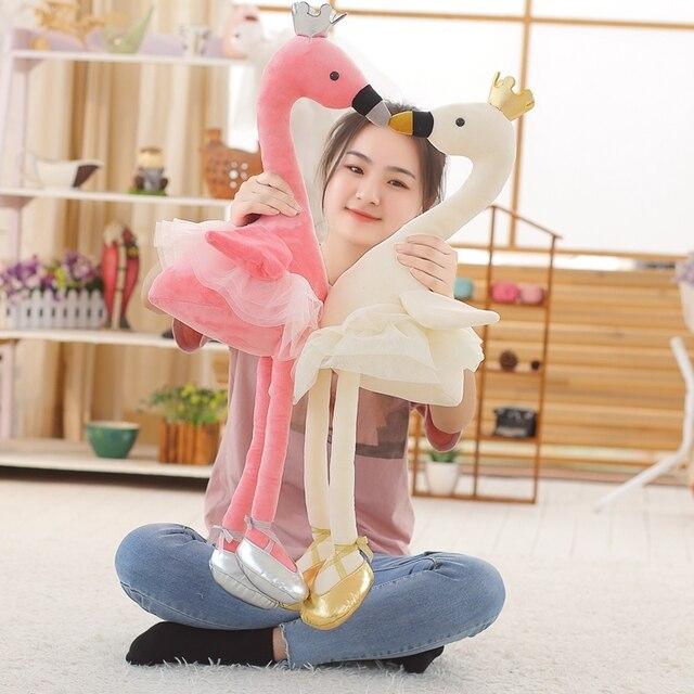1PC 35CM cygne jouets en peluche mignon flamant rose poupée en peluche doux animal poupée ballet cygne avec couronne bébé enfants apaiser jouet cadeau pour fille