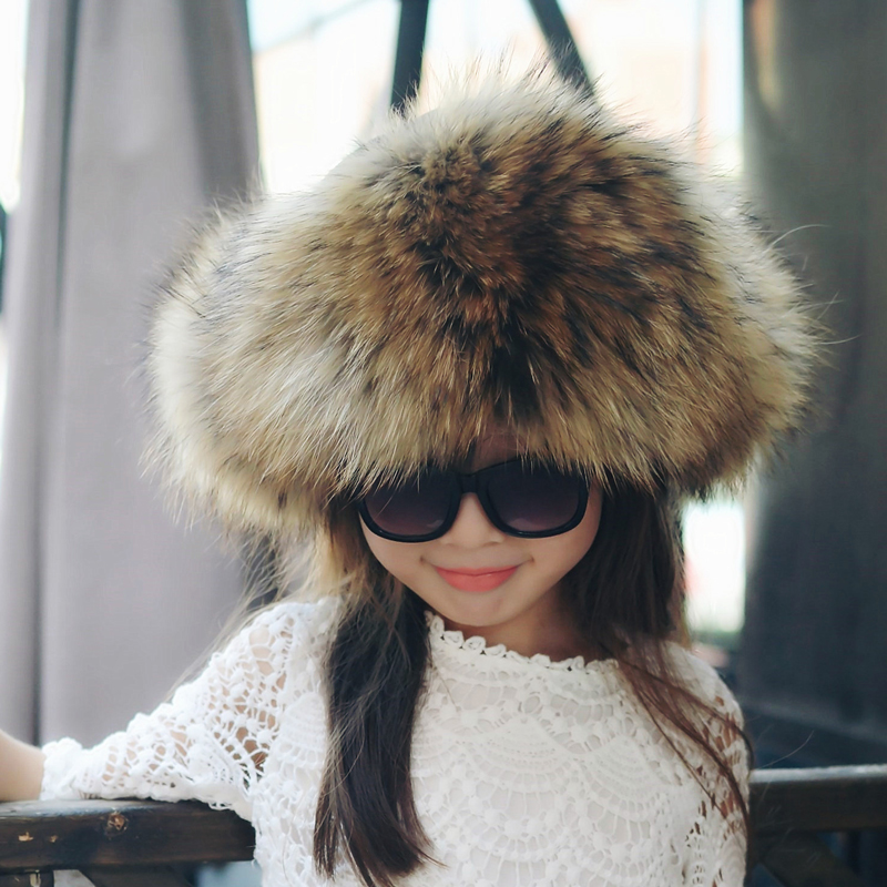 New hot winter fur hat children real fox/raccoon fur hat with leather 2017 Russia fashion warm bomber cap luxury good quality good quality real mink fur hat winter knitted mink fur beanies cap with fox fur pom poms 2016 new brand thick female cap