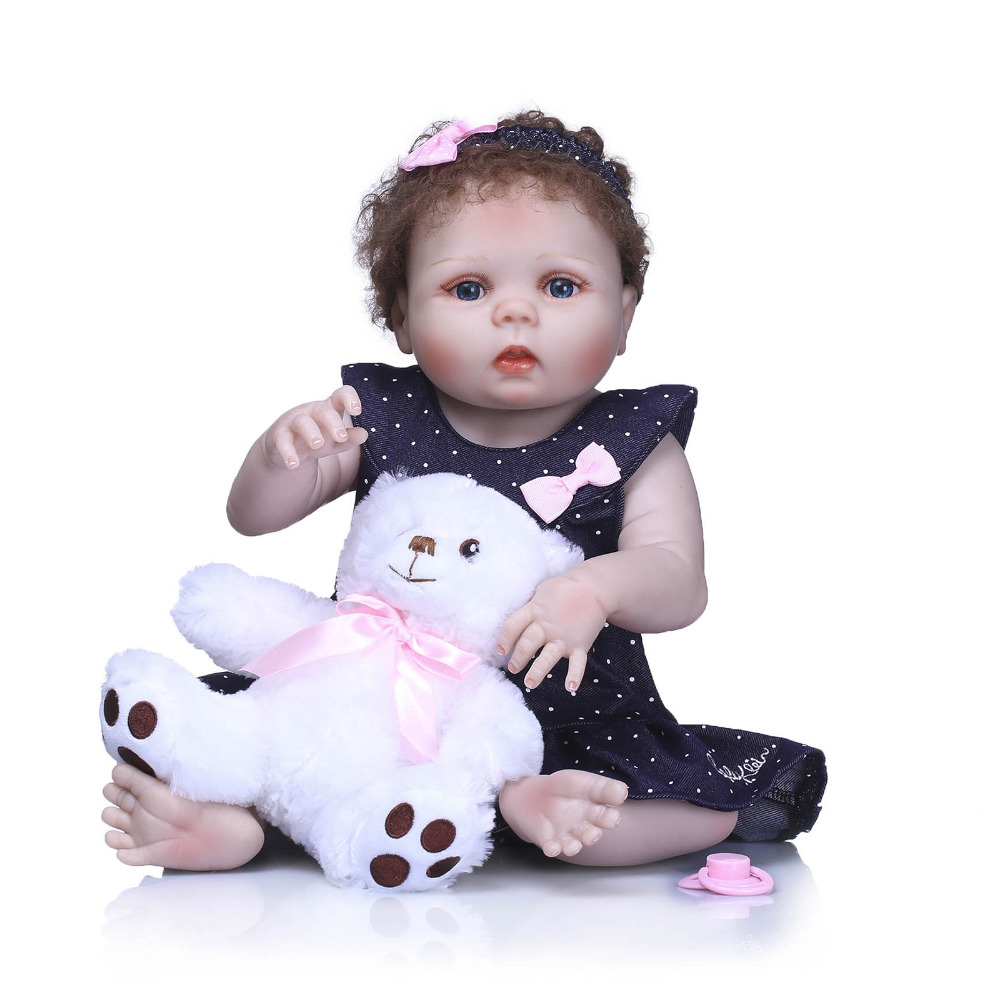 Nicery 22inch 55cm Bebe Reborn Doll Hard Silicone Boy Girl Toy Reborn Baby Doll Gift for Children Pink Yarn Dress Baby Doll nicery 18inch 45cm reborn baby doll magnetic mouth soft silicone lifelike girl toy gift for children christmas pink hat close
