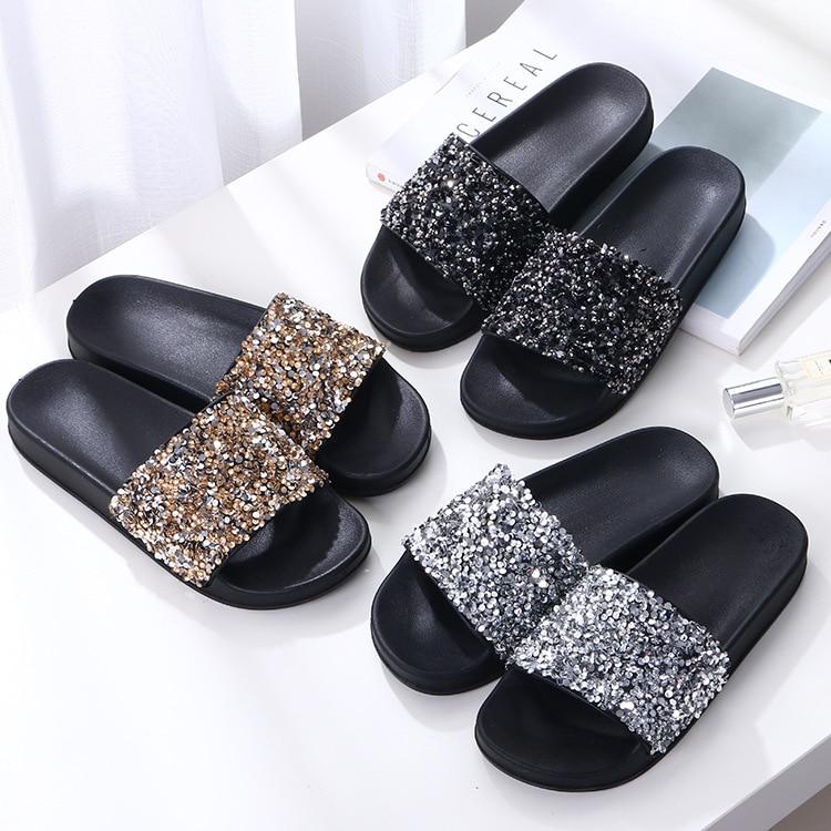 ZOOLIM Women Slippers Flip Flops Women Crystal Bling Sequins Platform Beach Slides Sandals Casual Shoes Slip On Slipper in Slippers from Shoes