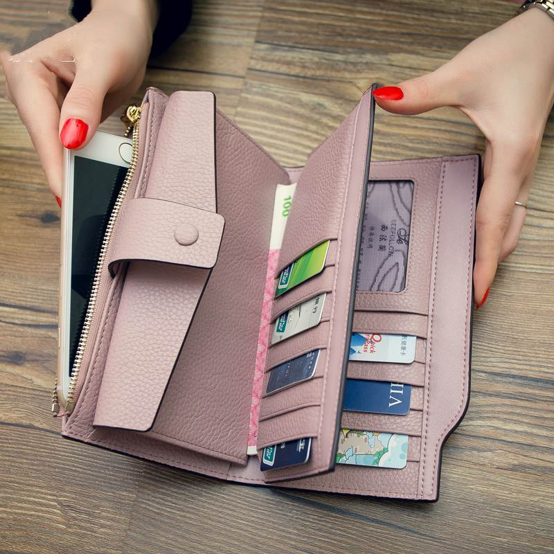 genuine Leather Purse women wallets high quality togo leather Brand 2017 Cell phone Card Holder Long Lady Wallet Clutch aim fashion women s long clutch wallet and purse brand designer vintage leather wallets women bags high quality card holder n801