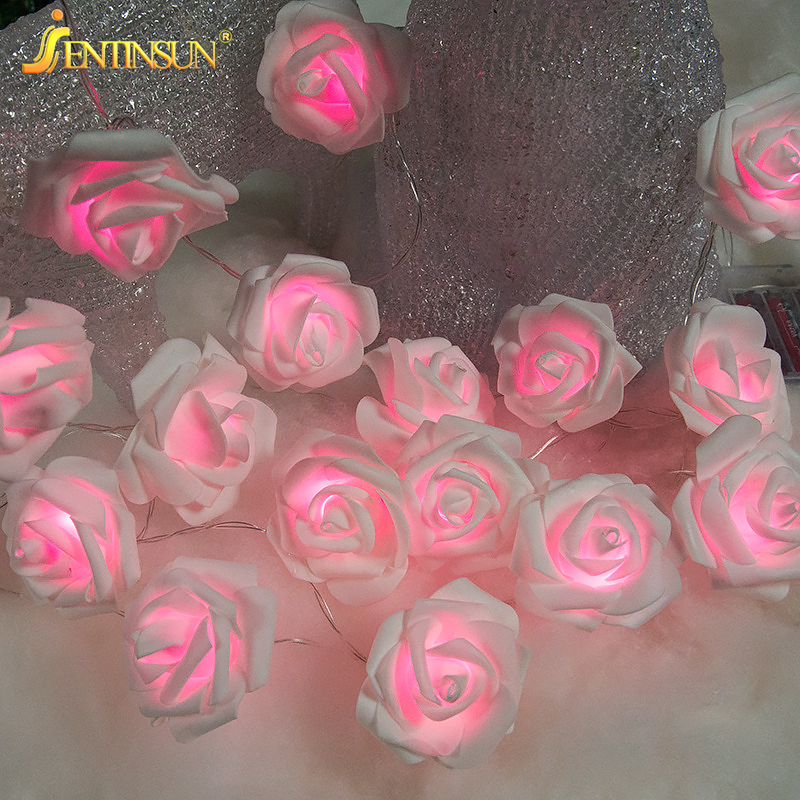 3M Simulation Roses Decorative Light String LED Battery Lamp Romantic Fairy Light for Indoor Wedding Valentines Day Decoration